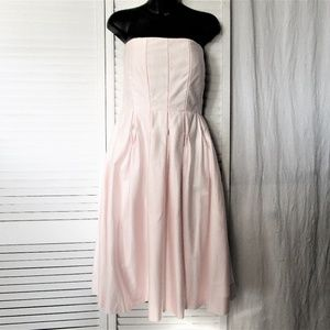 Calvin Klein pale pink cotton strapless dress 10